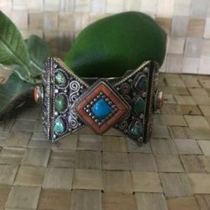 Jewelry - Native American? Ornate Multi Stone Sterling Cuff